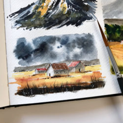 10 minutes watercolor landscape
