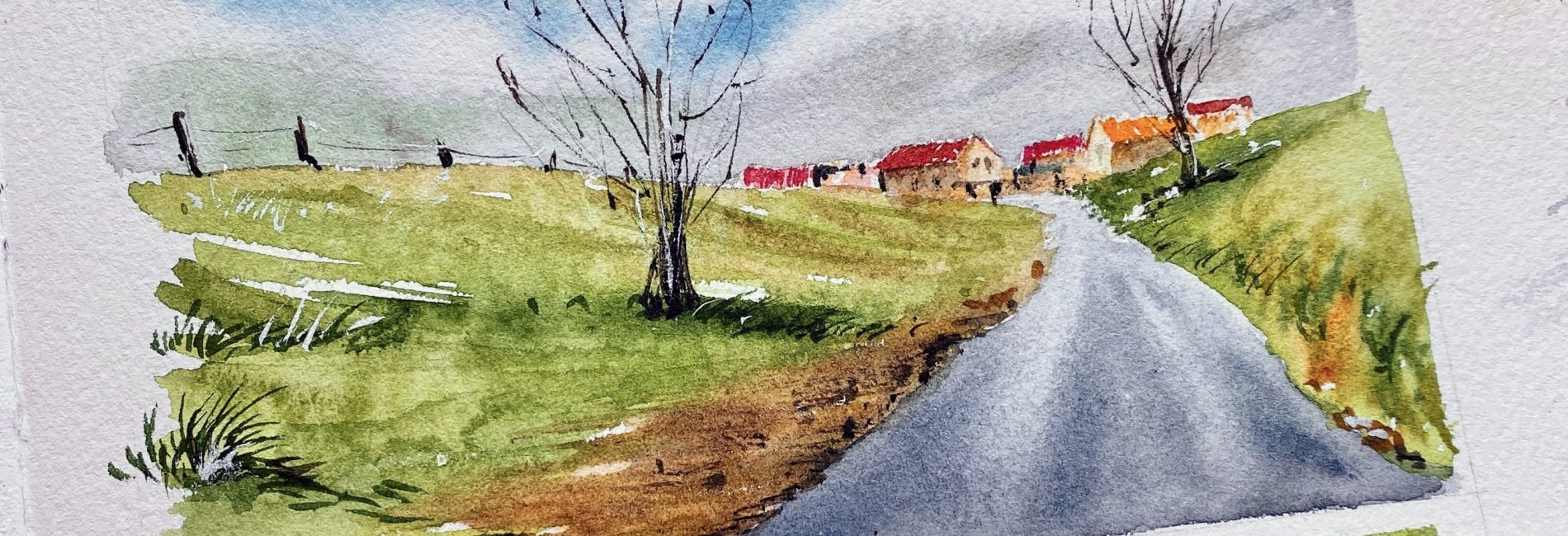 Country side – watercolor landscape