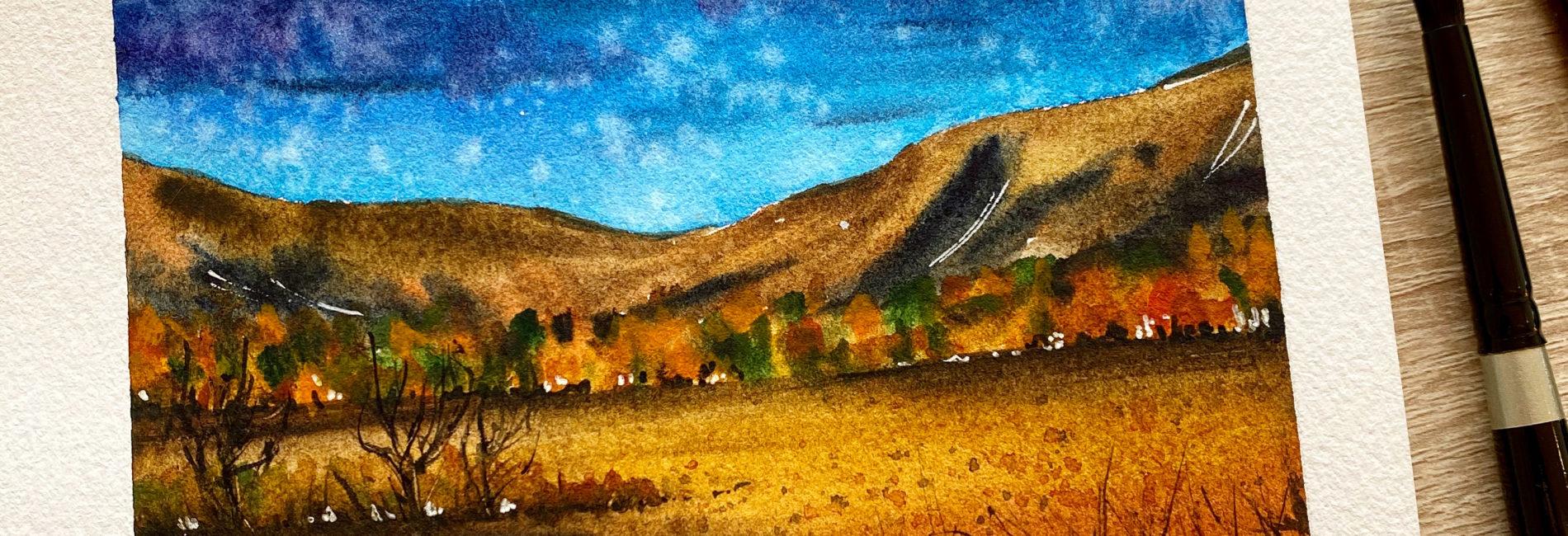 A vivid landscape in watercolor
