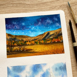 A vivid landscape in watercolor